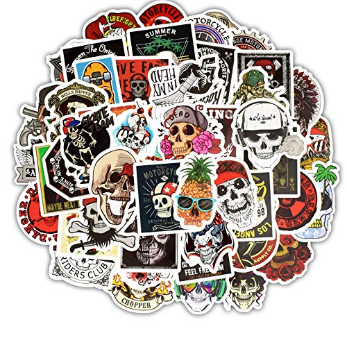 Stickers for Laptop Water Bottles Hydroflasks Skateboard Bicycle, Cute Decal Waterproof Aesthetic Trendy Cool Vinyl Skull Stickers for Teen Girls Junior 50pcs