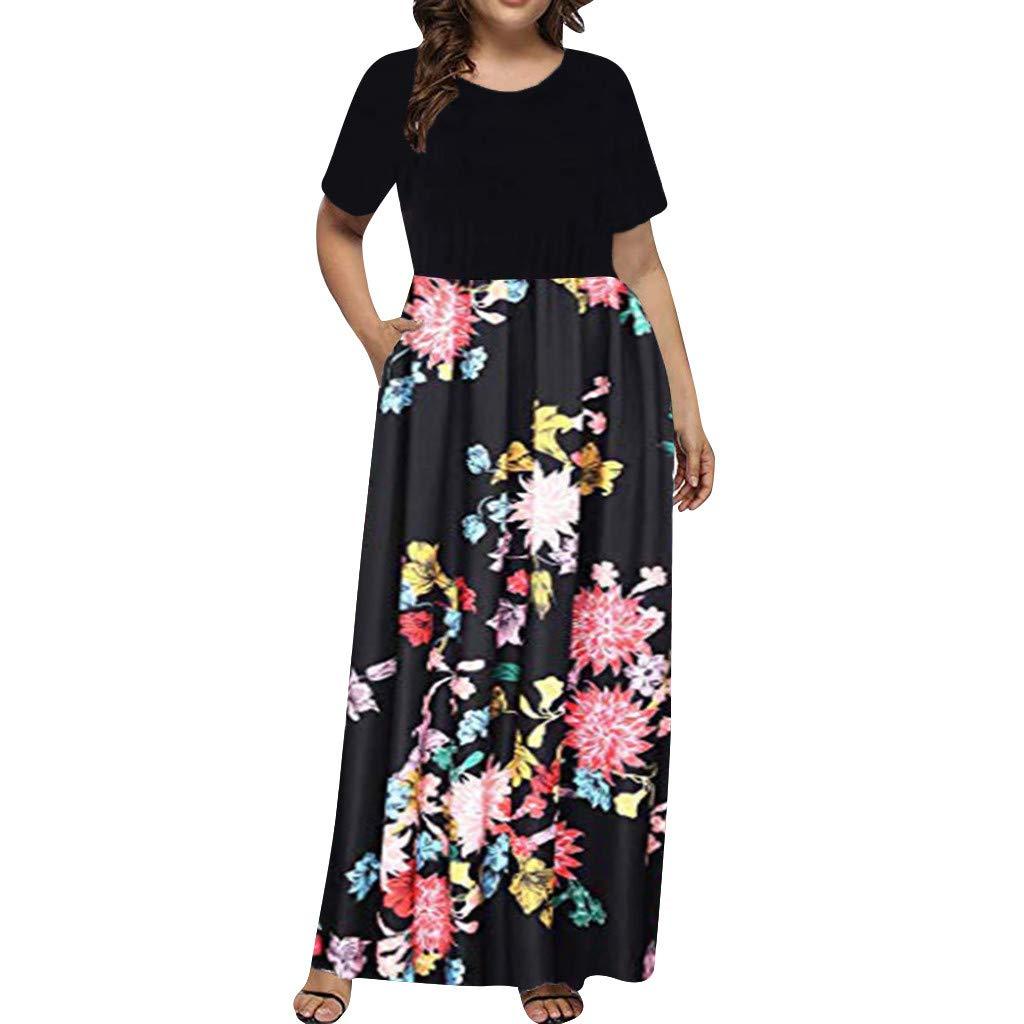 Sengei Women's Bohemian Dress Plus Size O Neck Vintage Floral Print Short Sleeve Boho Beach Maxi Dress (XL, Black)