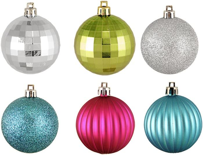 Northlight 7495021 24ct Burgundy Red Shatterproof 4-Finish Christmas Ball Ornaments 2.5 60mm