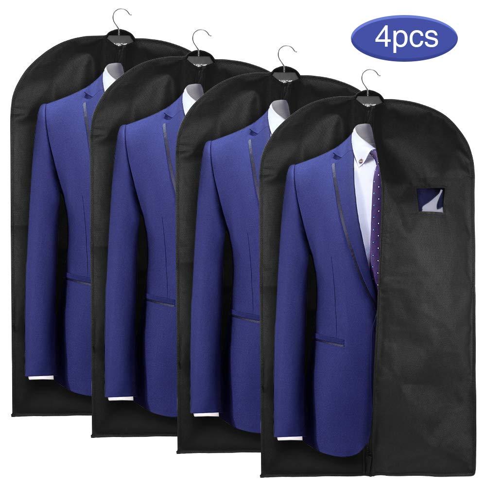 Schwarz esonmus Kleidersack Kleiders/äcke lang 5er Set Anzugsack Kleiderschutz 60x128 cm