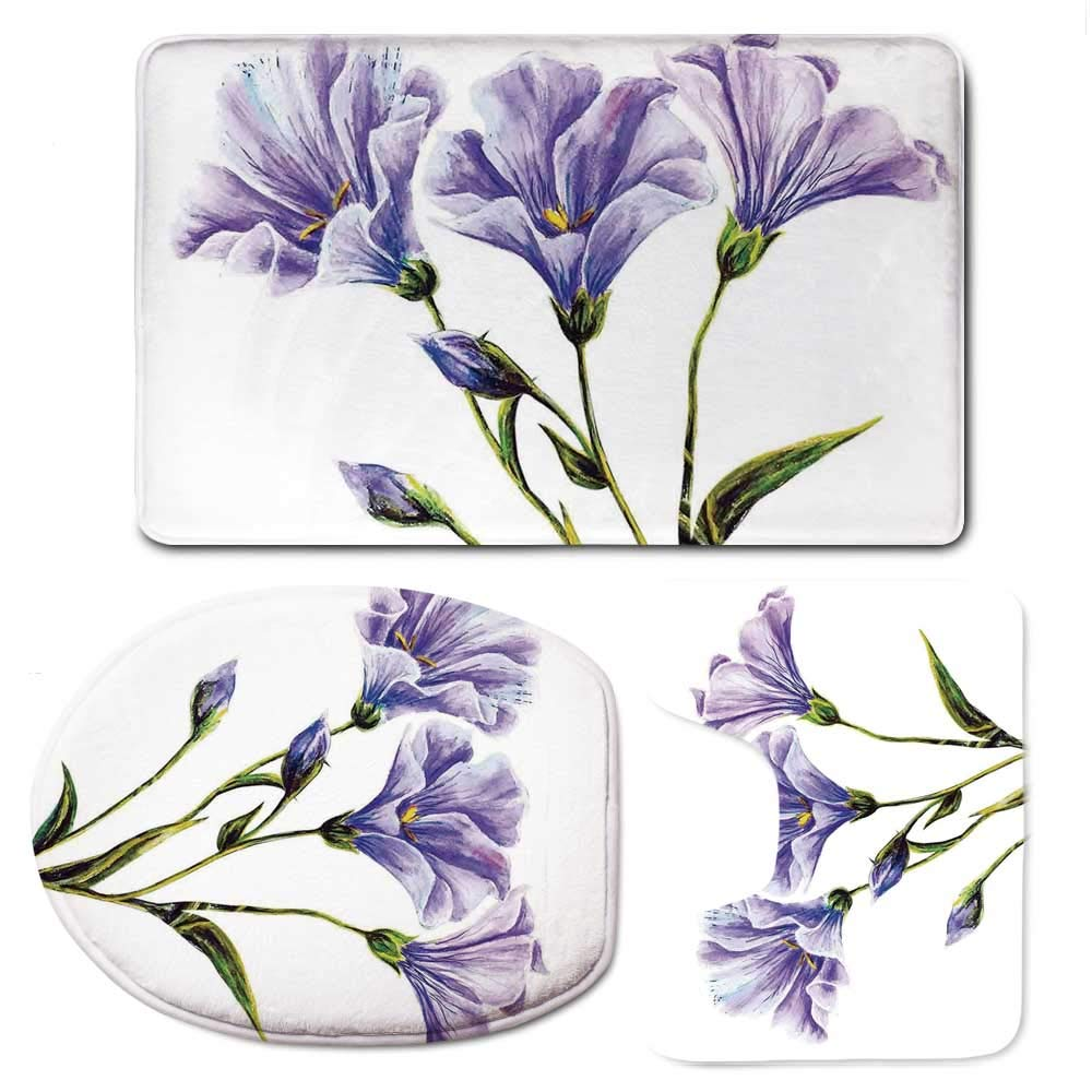 YOLIYANA Watercolor Flower Durable Bathroom 3 Piece Mat Set,Wild Flowers Drawing of Romantic Summer Theme Mother Earth Art Decorative for Bathroom,F:20'' W x31 H,O:14'' Wx18 H,U:20'' Wx16 H