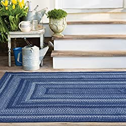 "Rectangle Braided Rug 27"" x 45"" Homespice Indigo Blue, White Durable Eco Friendly Natural Fiber, Easy to Clean, Reversible, Handmade"