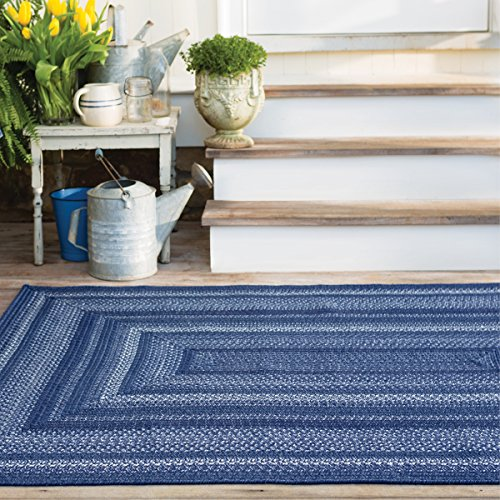 """Rectangle Braided Rug 27"""" x 45"""" Homespice Indigo Blue, White Durable Eco Friendly Natural Fiber, Easy to Clean, Reversible, Handmade"""