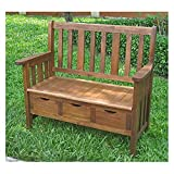 International Caravan Acacia 39 in. Outdoor Patio Bench with Drawers, Made from Solid Acacia Wood, Perfect for Outdoor Use