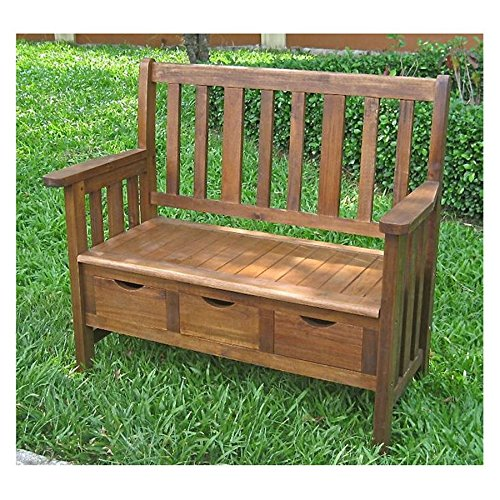 International Caravan Acacia 39 in. Outdoor Patio Bench with Drawers, Made from Solid Acacia Wood, Perfect for Outdoor Use by Dimensions: 39L x 20W x 36H inches