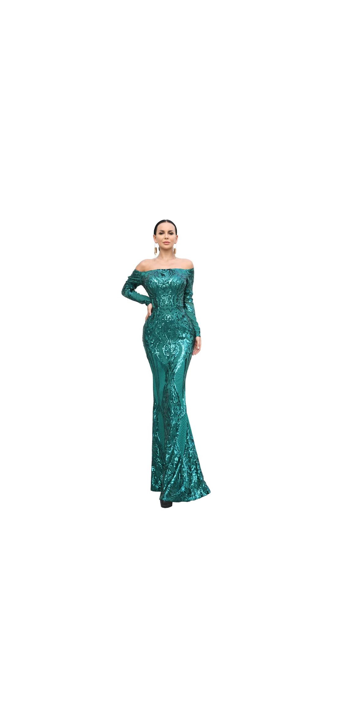 Women's Long Sleeve Word Shoulder Mermaid Floor Length