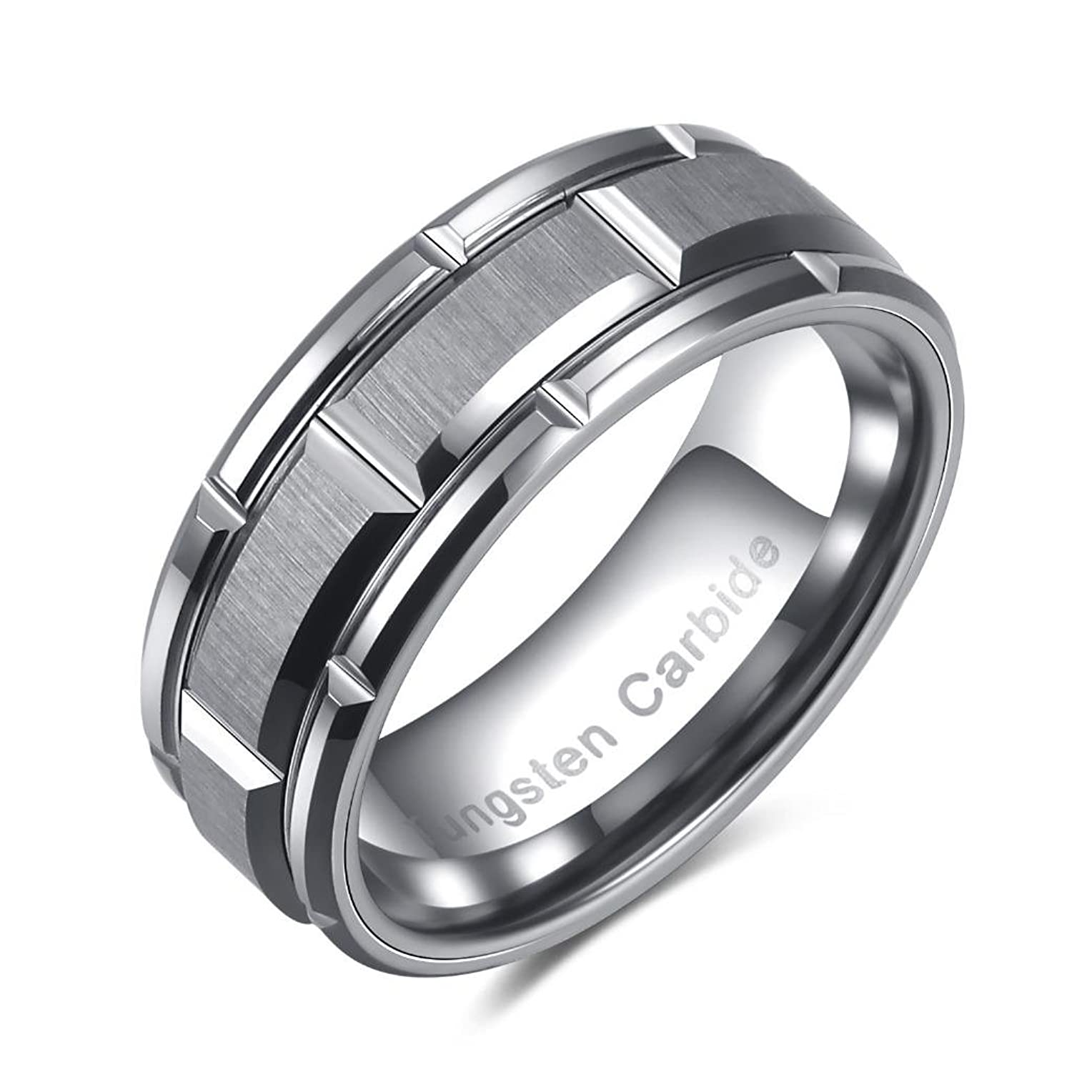 Castillna 8mm Brick Pattern Tungsten Ring for Men
