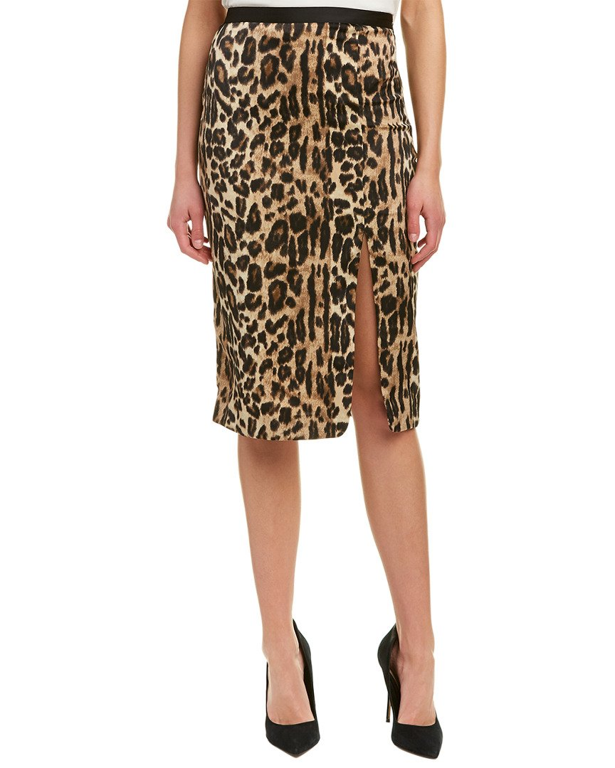 Kenneth Cole Women's Satin Slit Skirt, Natural Leopard, 8