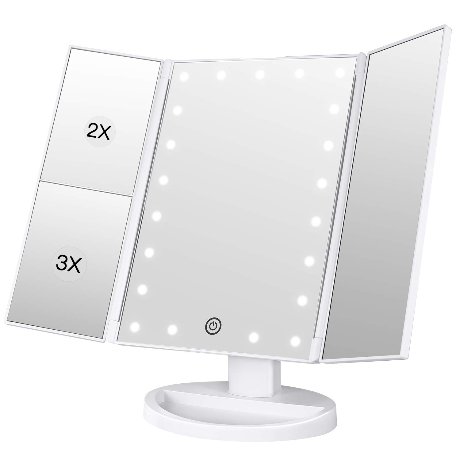 BESTOPE Makeup Vanity Mirror with 21 LED Lights, 3X/2X Magnifying Led Makeup Mirror with Touch Screen,Dual Power Supply,180° Adjustable Rotation,Countertop Cosmetic Mirror by BESTOPE