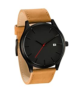 Festiday Men Fashion Casual Quartz Watches Generous Simple Design Wrist Watches Clearance Casual Analog Display Comfortable Leather Watches On Sale Watches Creative Gentlemen Gifts (C)