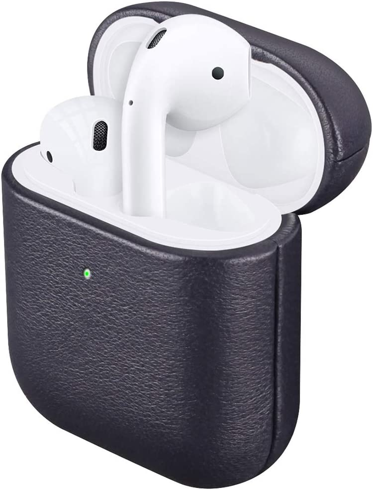 AirPods Genuine Leather Case, Lopie [Handmade Series] AirPods Cover Protective Skin, Portable Shockproof Shell Dust/Dirt Proof Case for Apple AirPods - Midnight Blue