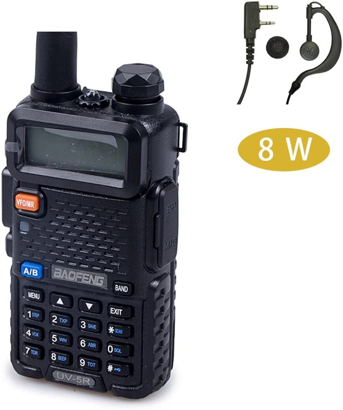 Baofeng UV-5R High Power 8-watt Tri-Power 8/4/1W Dual Band Two Way Radio W/Earpiece (Black)