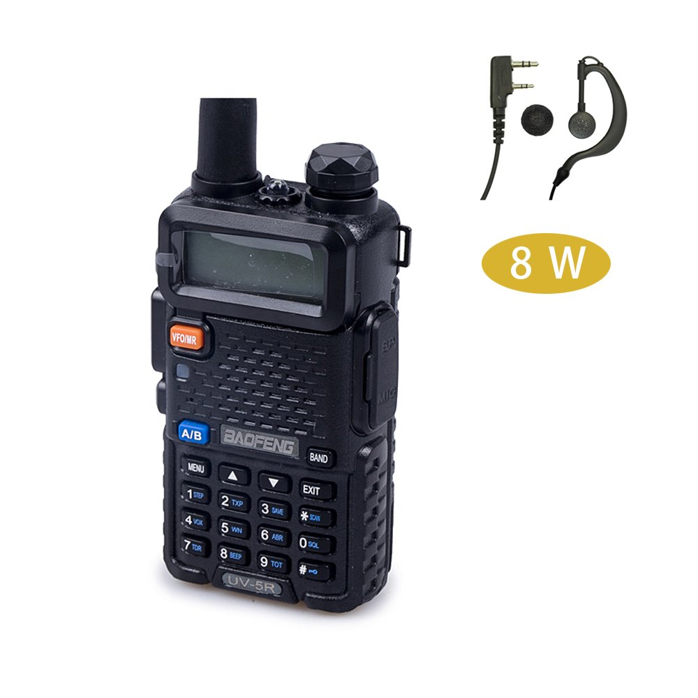 WT-0891 Black Baofeng UV-5R High Power 8-watt Tri-Power 8//4//1W Dual Band Two Way Radio W//Earpiece