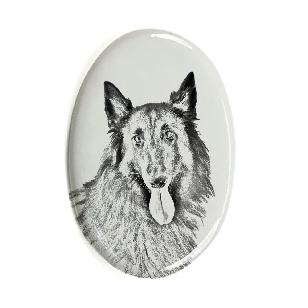 Belgian Shepherd, Oval Gravestone from Ceramic Tile with an Image of a Dog