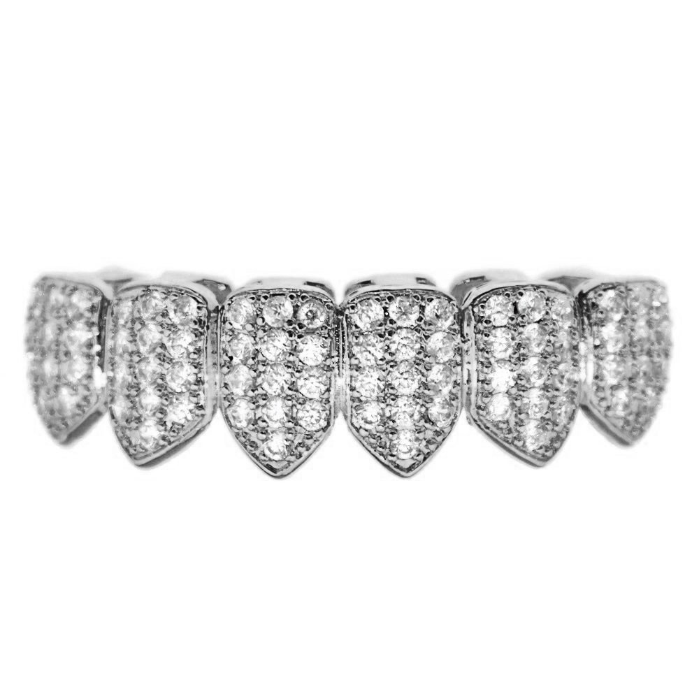 CZ Bottom Grillz Silver Tone Cubic Zirconia Bling Micro Pave New Lower Hip Hop Teeth Slugs by Bling Cartel