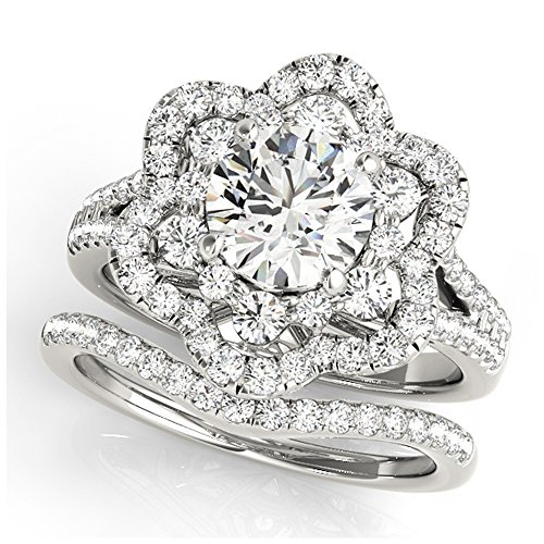 14K White Gold Unique Wedding Diamond Bridal Set Style MT50995