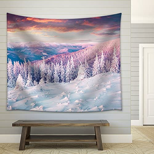 Colorful Winter Sunrise in The Carpathian Mountains Gorgany Ridge Ukraine Europe Instagram Toning Fabric Wall