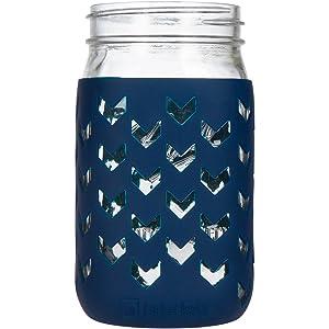 JarJackets Silicone Mason Jar Sleeve - Fits 32oz (1 quart) WIDE-Mouth Jars … (1, Midnight)