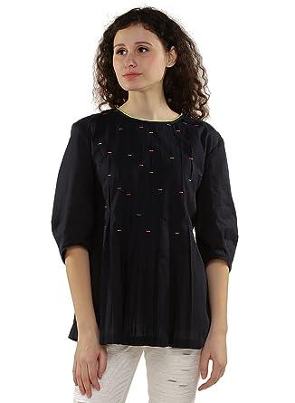 b51e9478e31ab2 GENES - Lecoanet Hemant Women s Plain Loose Fit Cotton Top  (LHGW-604E60 B1 NAVY XS)