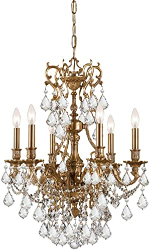 Crystorama 5146-AG-CL-MWP Crystal Six Light Chandeliers from Yorkshire collection in Brassfinish,