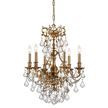 crystorama lighting 5146agclmwp chandelier with hand polished crystals aged - Crystorama