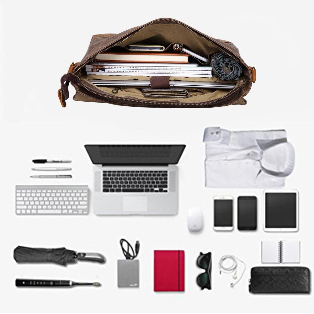 Kopack Waterproof Laptop Briefcase 15.6 inch Waxed Canvas Genuine Leather Laptop Bag Coffee by kopack (Image #6)