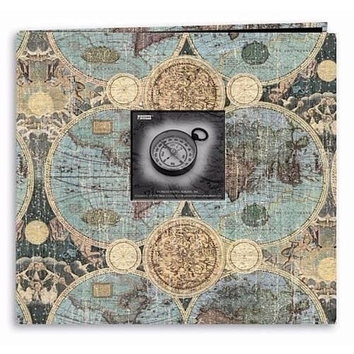 12x12 Inch Postbound Scrapbook - Pioneer 12 Inch by 12 Inch Postbound Frame Front Memory Book, Globes Design
