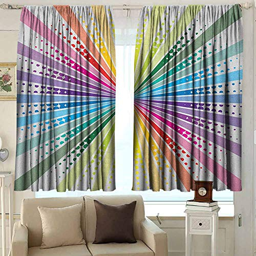 AFGG Window Curtains Vintage Rainbow Retro Style Burst Effect with Halftone Details Colorful Rays Pop Sixties Waterproof Patio Door Panel 55 W x 39 L Inches Multicolor ()