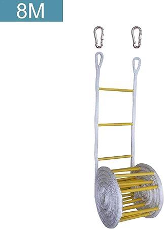 Jannyshop 8M Escalera de Cuerda de Emergencia Resistente al Fuego con Ganchos para Niños y Adultos Escape de la Ventana y el Balcón: Amazon.es: Hogar