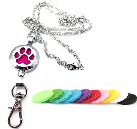 amazon com 32 paw print aromatherapy id badge holder necklace