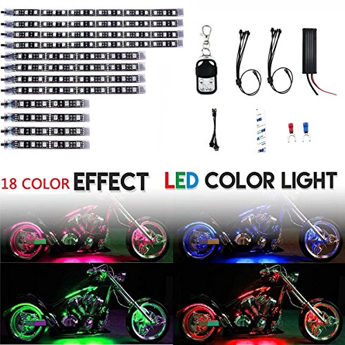 HonsCreat Waterproof Premium Multi-Color Motorcycle LED Lights | Motorbike LED Light Kit 12 Volt Light Strips Neon Accent Glow | 18 SUPER Bright RGB Colors Vibrant Remote