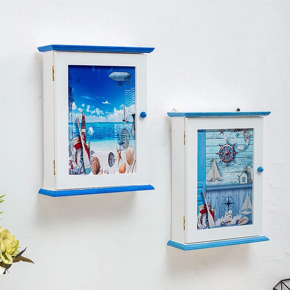Random Style Yardwe Wood key cabinet box mediterranean style wall mounted wooden key holder storage box