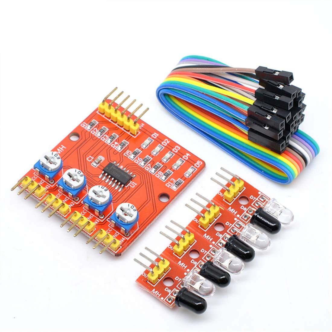 willwin 2pcs seguimiento mó dulo sensor de detecció n de infrarrojos mó dulo DIY para Arduino 4 canal