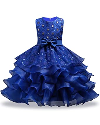 cefd43d2ee Blue Girl Ball Gown Dress for Wedding Formal Size 7 8 Tea Length Lace Flower