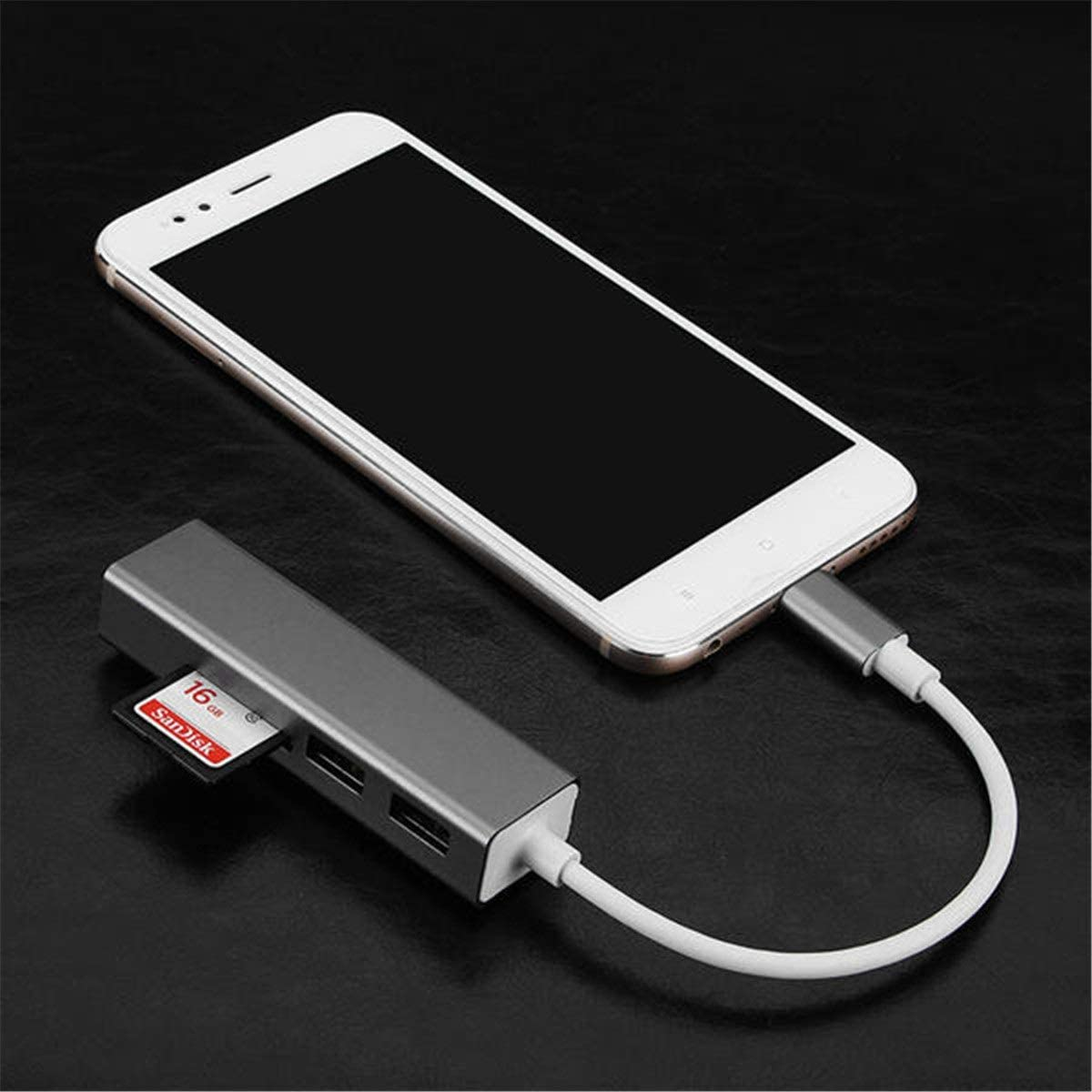 SD TF Micro SD Card Reader HHF USB Cables 3 in 1 USB3.0 Type C USB Hub OTG Adapter for Phone Tablet Notebook Color : Gray