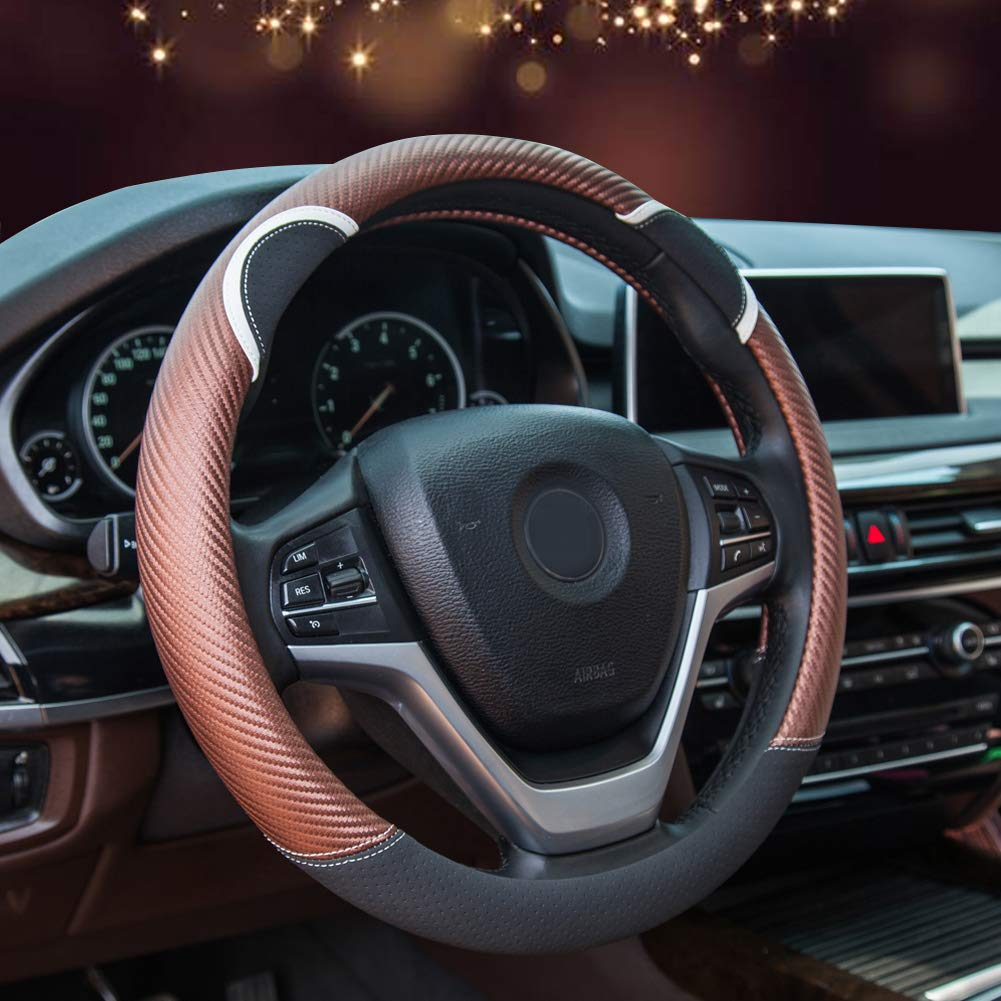 Pink Alusbell Cute Carbon Fiber Steering Wheel Cover Synthetic Leather Auto Car Steering Wheel Cover for Women 15 Inch