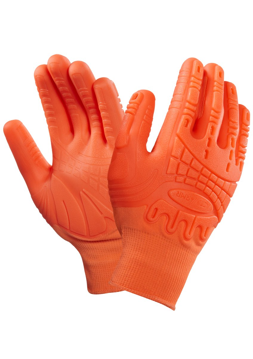 X 1 Pair Ansell Mad Grip ActivArmr Palm and Knuckle Protection Gloves Hi Viz Orange OCR Tough Mudder (9)