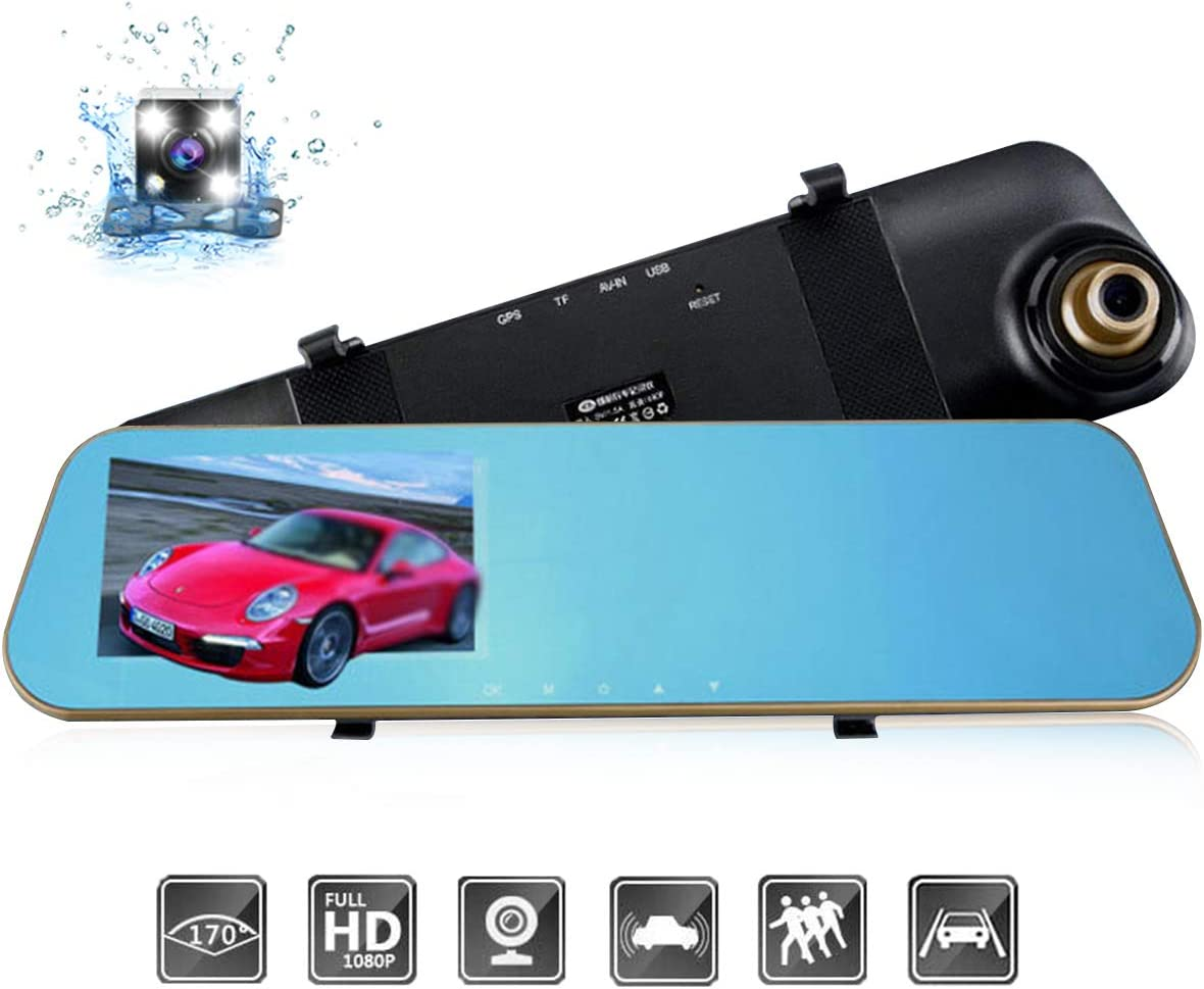 """DEALPEAK Dual Lens HD 1080P Car Video Camera Recorder Rearview Mirror Dash Cam 170 Degree Wide Angle G-Sensor Night Vision Front and Back Camera with 4.3"""" Screen"""