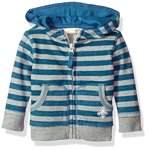 Burt's Bees Baby Baby Infant Organic Zip Front Hoodie, Blue Star Stripe, 12 Months - Blue Infant Sweatshirt