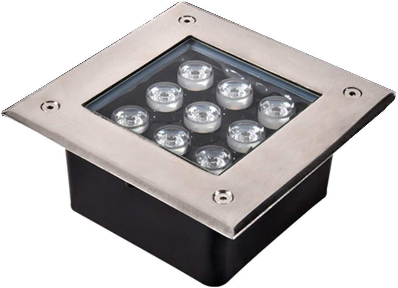 AMDHZ Foco Empotrable de Suelo LED Enterrado Luces LED Impermeable Luz Alta El Ahorro De Energía Lugar Escénico Parque Cuadrado Enterrada,8 Colores,6 Potencia (Color : D, Size : 16W)
