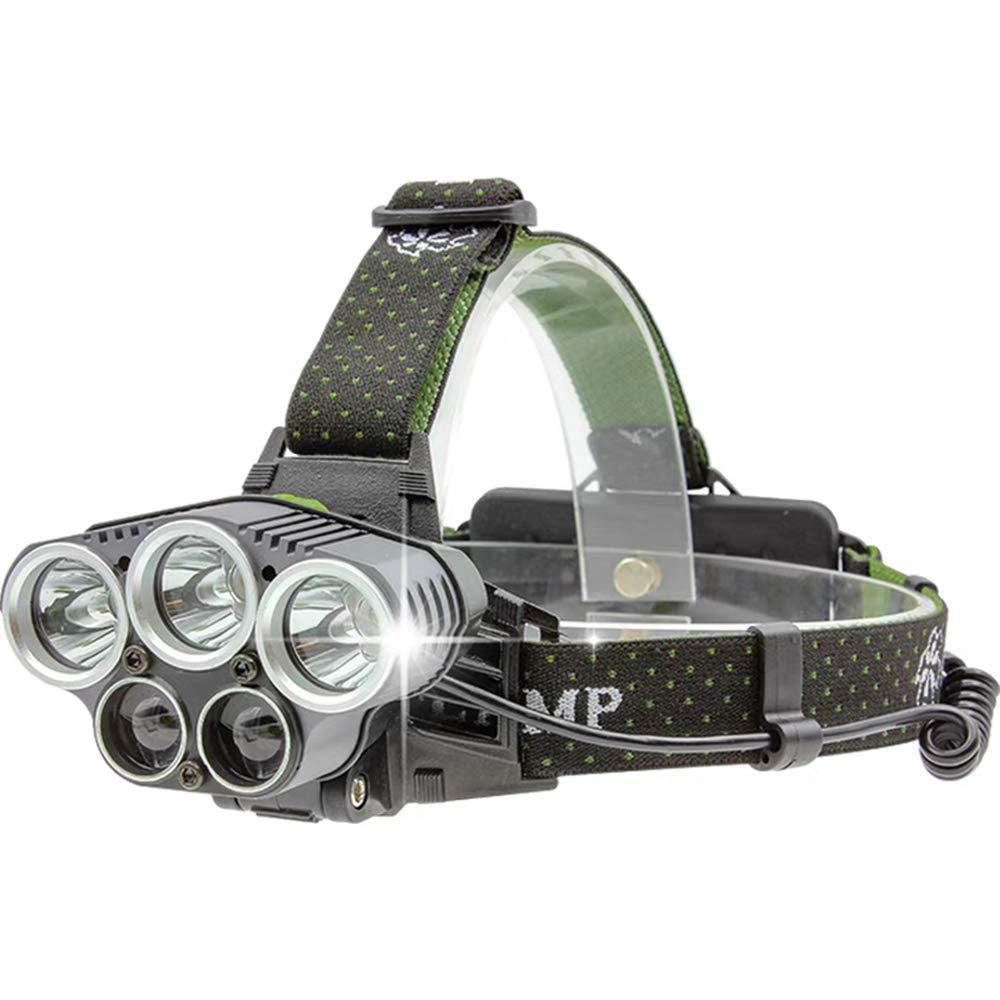 Scheinwerfer Head-Mounted Fünf-Kopf-Outdoor-Nachtlicht LED Angelscheinwerfer Abenteuerlicht USB-Lade
