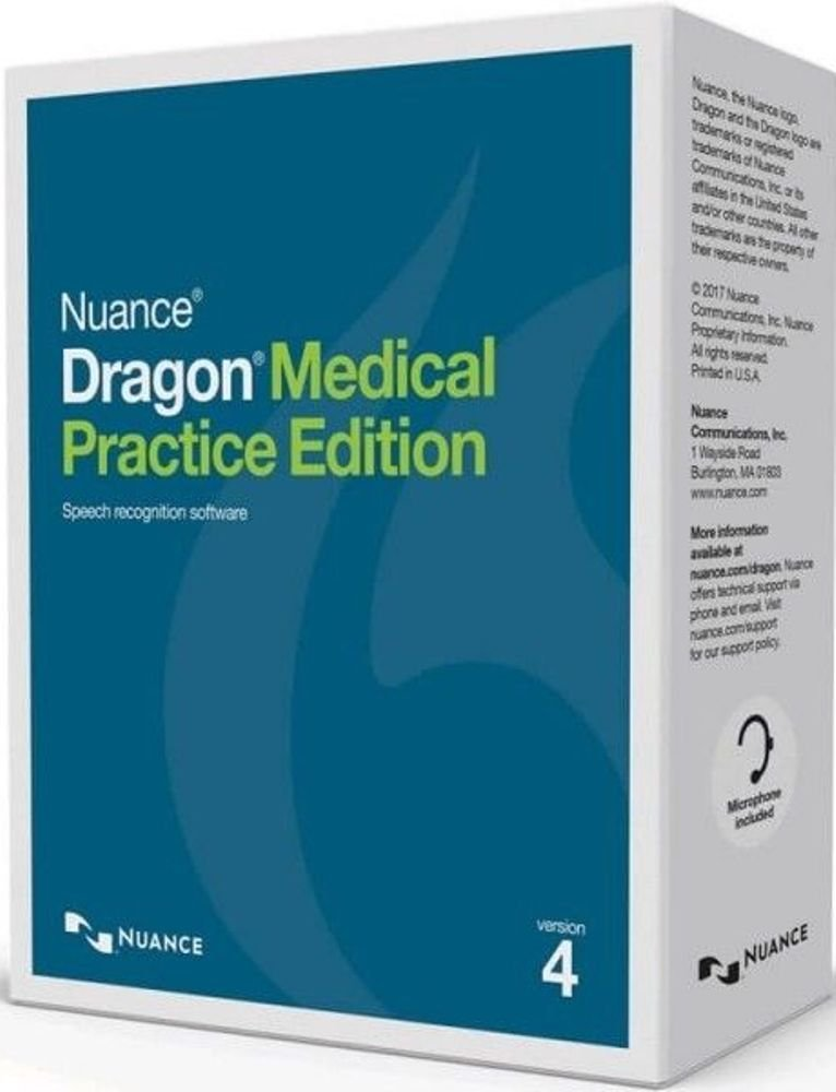 Nuance A709AX0040 Dragon Medical Practice Edition 4 Speech Recognition Software, Medical Vocabularies and Acoustic Models Tuned for the Way Clinicians Speak, Simplified Interaction with EHRs by Nuance