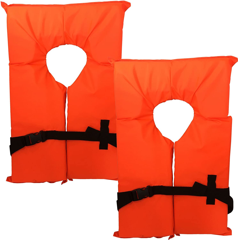 2パックタイプIIネオンオレンジライフジャケットベスト – 大人用ユニバーサルBoating PFD