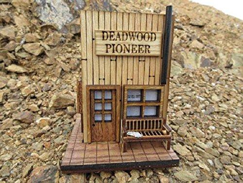 (Miniature Deadwood Pioneer and Telegraph, Old West Miniature Rustic Building, Deadwood )