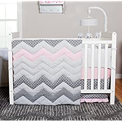 Trend Lab Chevron 3 Piece Crib Bedding Set, Cotton Candy Pink and Grey
