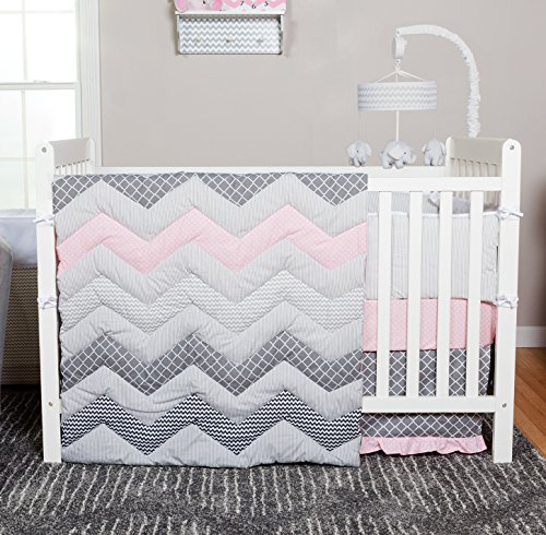 Pink Trend Set Lab Crib - Trend Lab Chevron 3 Piece Crib Bedding Set, Cotton Candy