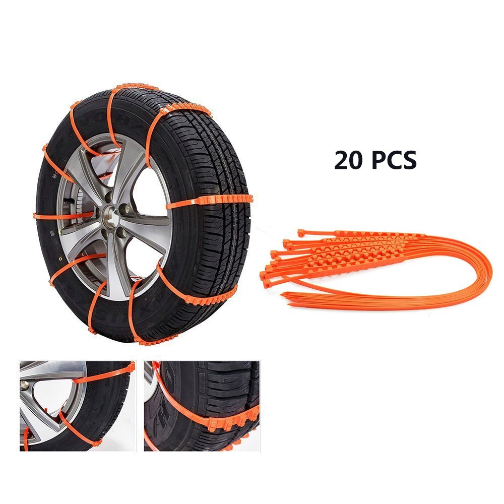 Baffect 20pcs Car Winter Snow Chains Emergency Snow Tire Chain Car Tire Anti-skid Chain Emergency Anti-slip Chain Free 145-285mm Tire Width Universal for Car SUV Truck Audi BMW Honda snow chains land rover suzuki