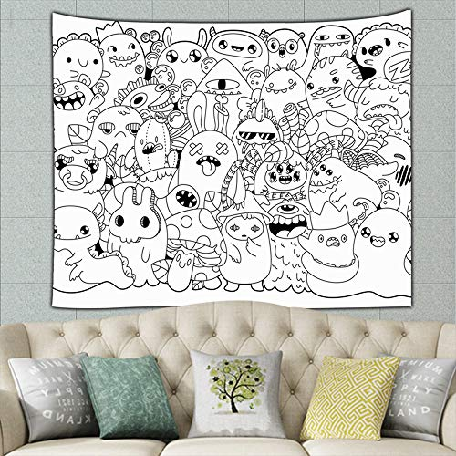 best bags Doodle Monsters Cute Cartoons Kawaii Style Coloring Holidays Mural for Bedroom Living Room Dorm Home Décor 90 X 60 Inches