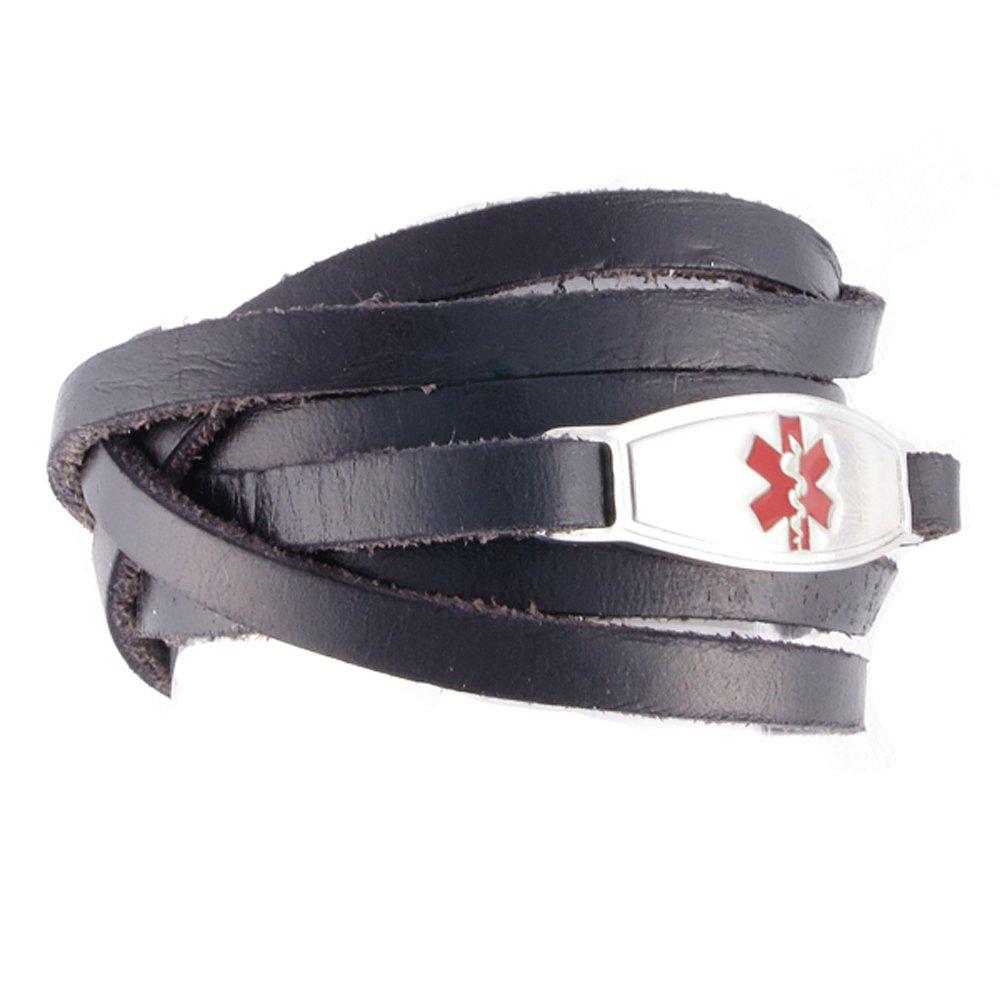 Free Custom Engraving, Casual Faux Leather Medical Alert ID Bracelet - Adjustable Size - Wrap Black - Red