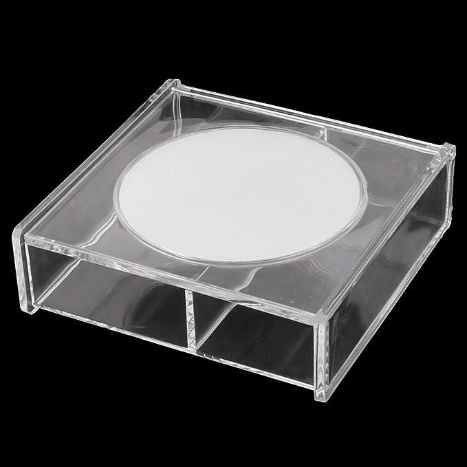 Amazon.com: eDealMax acrílico del rectángulo 2 Slots Cosméticos Joyero Organizador Claro Espejo de maquillaje w: Home & Kitchen
